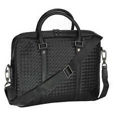 Men's Black Woven Black Leather Messenger Bag Laptop Shoulder Travel Handbag