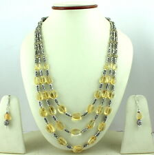 NECKLACE  NATURAL CITRINE GEMSTONE BEADED HANDMADE FASHION JEWELRY 67 GRAMS