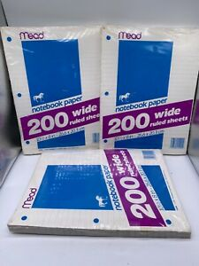 """3 X NOS VINTAGE 1987 MEAD 200 NOTEBOOK PAPER WIDE RULED SHEETS 10.5"""" x 8"""""""