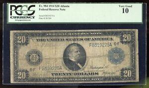 1914 $20 Large Federal Reserve Note Fr. 984 Atlanta Burke-Mcadoo PCGS 10