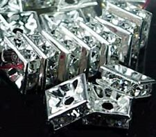 8mm Silver Rhinestone Square Rondelle Beads (30pc)