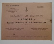 Carte Invitation Sous-Marin Agosta 1974 Cherbourg Ticket Billet Submarine France