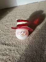 Hanging Glass Snowman Ornament with Hat