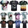 New Cool Skull 3D Novelty T-Shirt Colourful Men Boys Gift Top Cartton One Piece