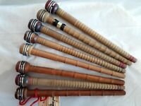 8 Antique Wooden Textile Thread Spool Yarn Weaving Spinning Spindle Bobbins 10""