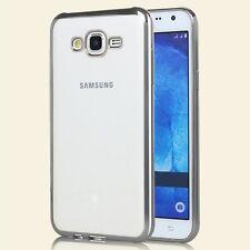 Coque Silicone Gel Transparente Contour Chrome Argent Silver Samsung Galaxy J5