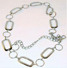 Women's Metal Silver Tone Chrome Link Circle Belt Hoops Hip