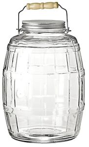 Anchor Hocking EXTRA LARGE Glass Barrel Jar with Lid and Handle 9.5L Storage Jar