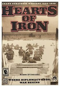 Hearts of Iron Pc New Boxed XP Global Strategic Warfare 1936 - 1948 Multiplayer