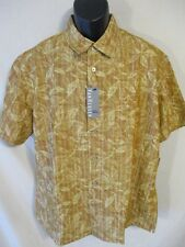 Van Heusen Rayon Size L Gold Floral Sq Hem Short Sleeve Button Shirt SR$54 NEW