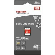 2 x TOSHIBA 32GB SDHC UHS-I SD Memory Cards Speed 80MB/S Class 10