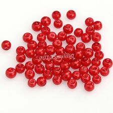 100pcs Red Color Round Smooth Glass Pearl Spacer Beads 4mm For Diy Bracelet