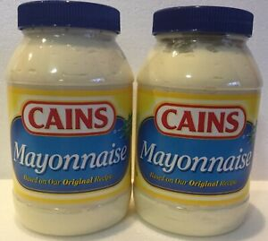 2 Jars CAINS Mayonnaise Mayo 30 oz New England Boston Food Condiment Kane Kain