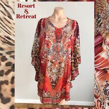 Crystal Embellished Kaftan L/XL, 14-20, Resort Wear, Tribal Print Red