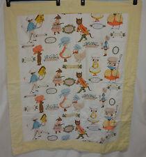 "VTG Baby Blanket Nursery Rhymes Mother Goose Lullabies Fable Pomes Lg 40x48"""