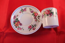 AYNSLEY COFFEE CAN CUP DEMI TASSE & SAUCER FLORAL ROSE ART DECO 1930'c ESPRESSO