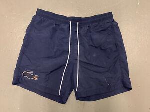 Lacoste Bathing Suit Men XL Blue Big Croc Logo Pockets Drawstrings