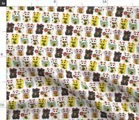 Japanese Cat Kitty Neko Maneki Neko Lucky Cat Spoonflower Fabric by the Yard