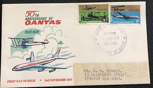 Australia FDC Royal 1970 50th Anniversary Of Qantas