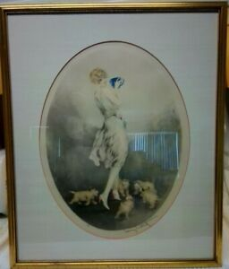 """Rare! Antique Louis Icart Etching Hand Pencil SIGNED & STAMPED! 21"""" x 25"""" FRAMED"""