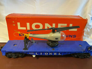 POSTWAR LIONEL TRAINS - 3419-30 HELICOPTER LAUNCHING FLAT CAR. WORKS FINE.
