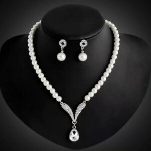 Pearl Pendant Set Necklace Silver Stud Earring Bracelet Ladies Womens Gift Uk