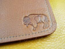 Light Brown Bison BUFFALO LEATHER Checkbook Wallet handcrafted disabled vet 5040