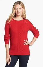 Michael by Michael Kors Studded Shoulder Ribbed Sweater  RED BLAZE Size XL NEW