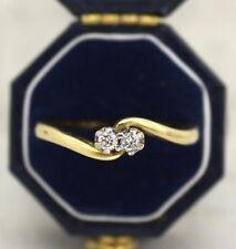 18CT YELLOW GOLD TWO DIAMOND TWIST RING SIZE P, ENGAGEMENT, TOI ET MOI, 0.1 DIA