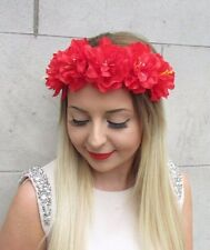Red Peony Rose Flower Garland Headband Hair Crown Festival Boho Headpiece 2816