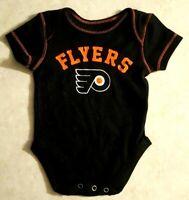 Philadelphia Flyers Infant Bodysuit Size 0-3 Months Black NHL Hockey New