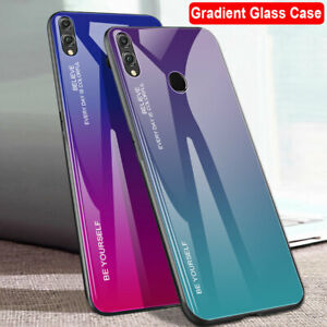 Gradient Tempered Glass Back Case for Huawei P Smart 2019 Y9 Honor 8X Max Cover