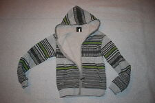 Boys WARM JACKET Sherpa Lined HEATHER GRAY Striped LIME GREEN Zip Front SIZE S