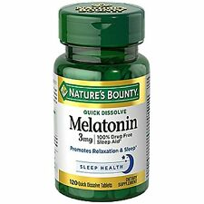 Natures Bounty Melatonin 3mg Quick Dissolve Tablets, 120 Count -Exp. 03-2019-