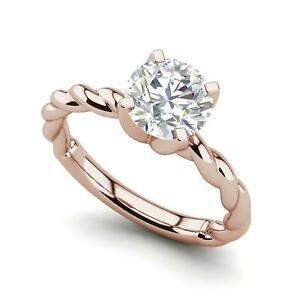 Twist Solitaire 2.25 Carat SI1/D Round Cut Diamond Engagement Ring Rose Gold