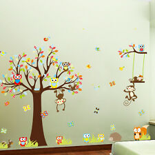 Owl Wall Stickers Animal Jungle Monkey Tree Nursery Baby Kids Room Decal Decor