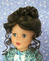 Tallina's WTA2 Dark Brown Full Cap Doll Wig Size 12-13 Curly Up-Do