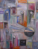 abstract THE FINAL CURTAIN oil painting 16x20 canvas original art signed Crowell