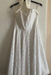 Vivien Of Holloway 1950s Halterneck Circle Dress Luxury White Satin Lace Voh 18