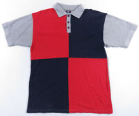 Vintage 90s Color Block Fresh Prince Red Navy Blue Heather Grey Polo Shirt