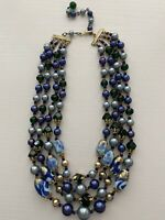 Vintage JAPAN Multi 4 Strand Graduated Bead Necklace Blue Green Glass Lucite EUC