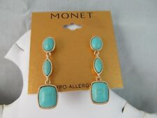 NWT MONET GOLD & TURQUOISE TRIPLE DANGLE EARRINGS, Oval, Marquis, Blue