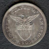 1905-S US Administration Philippines 20 CENTAVOS Silver Coin - Stock #3