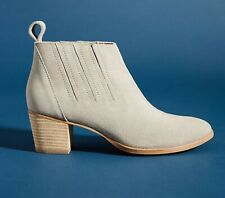 NEW ANTHROPOLOGIE LENA SUEDE LEATHER CHELSEA ANKLE BOOTS BOOTIES GREY 39 8.5 M