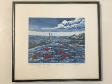"""""""Predator Beyond the Reef"""" David Bigelow; Framed, Signed Etching AP ARTIST PROOF"""