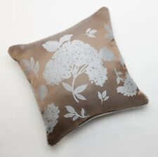 "37 WEST MONTEREY Pillow Size: 18 x 18"" NEW Reversible Floral BROWN / SILVER Blue"