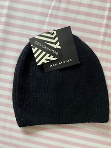 Max Studio Ladies Women's 100% Cashmere Black Beanie Hat