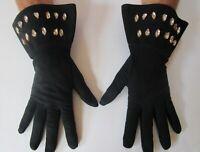 Dominique Aurientis Paris Gauntlet Gloves Black Suede Rhinestone Cuffs
