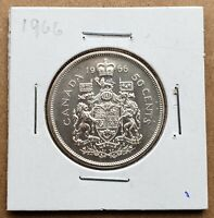 Canada 1966 - 50 Cents Fifty Cents 80% Silver Coin - Canadian - Free Shipping! A