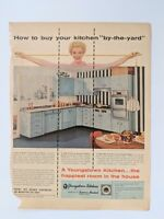 1957 Vintage Print Ad 50's YOUNGSTOWN kitchen home decor blue cabinet measure